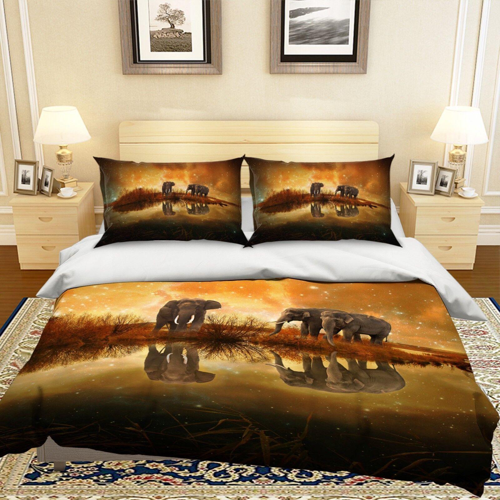 3D Elephant River 04 Bed Pillowcases Quilt Duvet Cover Set Single King Size UK