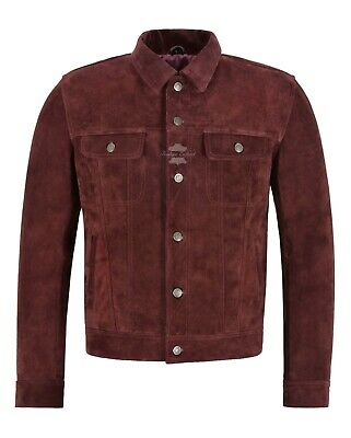 Men/'s Leather Biker Jacket Brown Suede CLASSIC LOOK Real Leather Jacket 1280