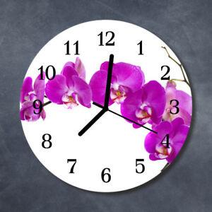 Echt-Glas Uhr Wanduhr Rund Küche 30 cm Deko Blume lila