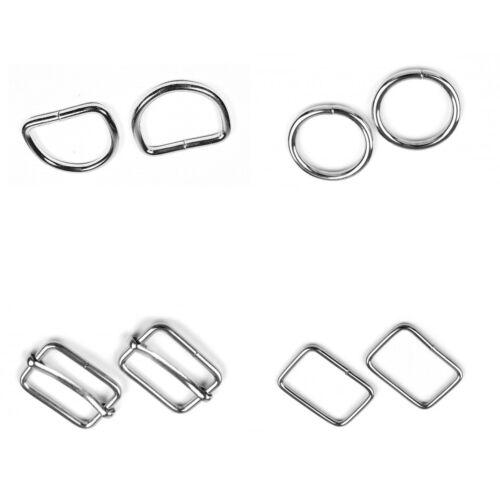 Metal Webbing Strap Fitting Buckle D Ring O Ring Clip Slider 20 25 30 35 /& 50mm