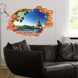 3d broken pattern mural wall stickers paris eiffel tower for Broken wall mural