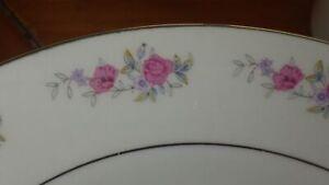 Fine China Dinnerware Set Pink Floral Platinum trim service 7+ EUC 38 pieces