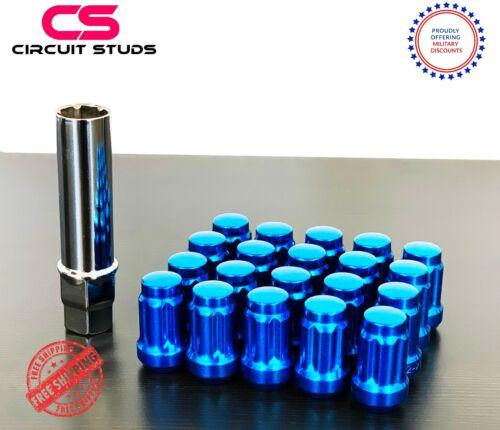 BLUE 6 SPLINE TUNER LUG NUTS FOR TOYOTA 86 12X1.25 THREAD 20PCS 1 KEY