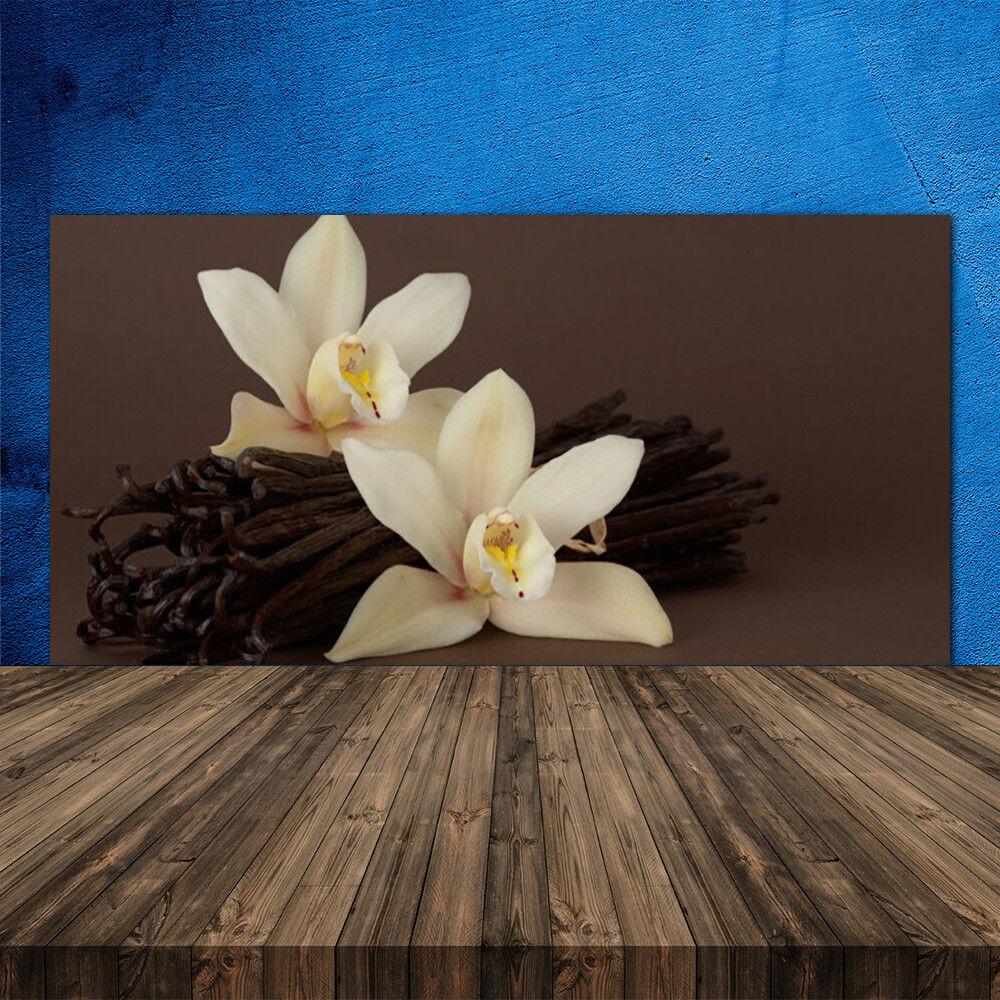 Crédence de cuisine en verre Panneau 120x60 Floral Vanille