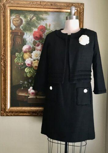 Karl Lagerfeld Paris Black Tweed Dress with Crop J