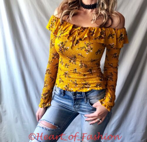 Floral Boho Peasant Off Shoulder Ruffle Detail Long Sleeve Smock Fitted Crop Top