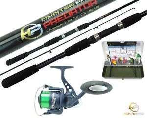 Details about Pike Bass Fishing Kit Set. 7' Spinning Rod, HP60 Reel, Line, Tackle Box & Lures