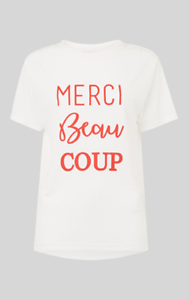 Whistles - Merci Beau Coup - Logo T--Shirt - Weiß - New with tag - Größe XS 6 8