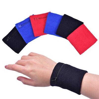 Fitness Wrist Band Wristband Sweatband Sport Running Pocket Zip Wallet Pouch QK