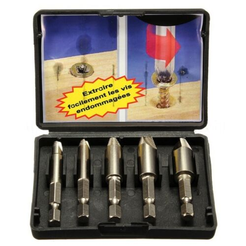 5PCS HSS4241 EASY SPEED Out vis extracteur Remover Drill Tool Set 1//4″Hex Tige