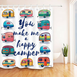 72x72-034-Funny-Camper-Car-Shower-Curtain-Liner-Waterproof-Fabric-Bathroom-amp-Hooks