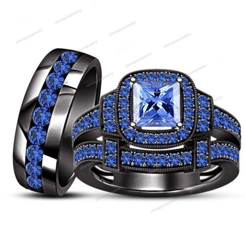 Black Gold Finish 3.10Ct Sapphire Engagement /& Wedding Bands Trio Ring Set Groom
