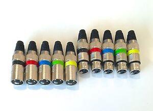 10-Stueck-5x-male-5x-female-XLR-Stecker-mit-Farbringen-fuer-Mikrofon-und-DMX-Kabel