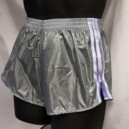 Grey-Lilac Gloss Ripstop Nylon Football Shorts S 4XL