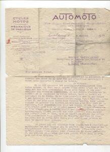 Aimable N°9241 / Lettre Entête Moto Automoto 4 Janvier 1928 Acheter Un Donner Un