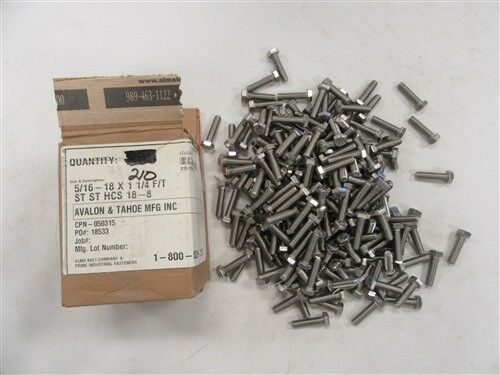 ALMA BOLT COMPANY 050315 STAINLESS HEX CAP SCREW 5 16-18 X 1 1 4  LOT OF (210)