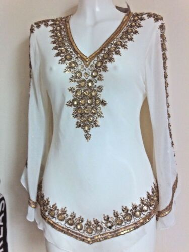 WOMENS GOLD SEQUINS BLOUSE CROP SHIRTS  WEDDING TOPS NIGHT PARTY CAFTAN TOPS