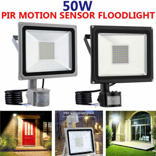 50W LED Flood Light Outdoor PIR Motion Sensor Garden Yard Security Spotlight
