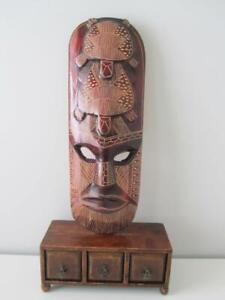 Large 62cm Vintage Hand Carved Wooden Timber Tribal Art Mako Mask Home Decor