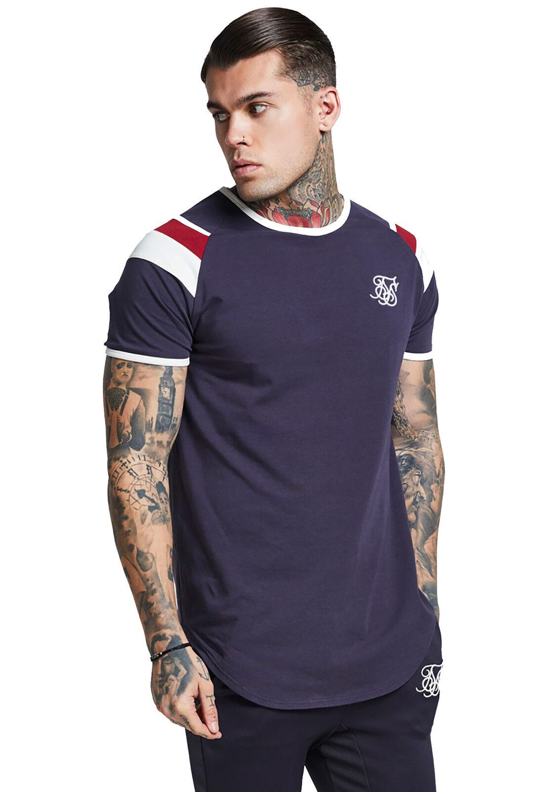 Siksilk T-Shirt Palestra Maglietta Ss-13073 Blu Marino