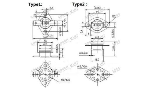 5 PCS Interrupteur à Température Contrôle Capteur Thermique Thermostat 105 ° C N.C KSD301
