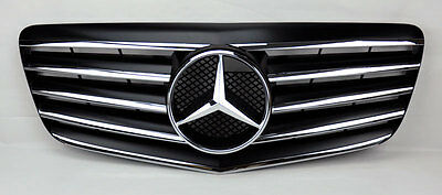 5 Fin Front Hood Sport Black Chrome Grill Grille for Mercedes E Class W211 07-09