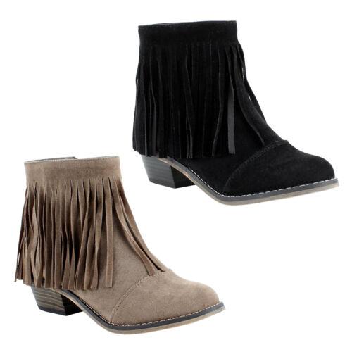 Womens Fringe Western Round Toe Stacked heel Bootie Boots Breckelle/'s Dorado-18