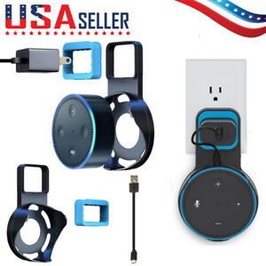 Outlet-Wall-Mount-Hanger-Holder-Stand-Bracket-With-Cable-For-Amazon-Echo-Dot-2