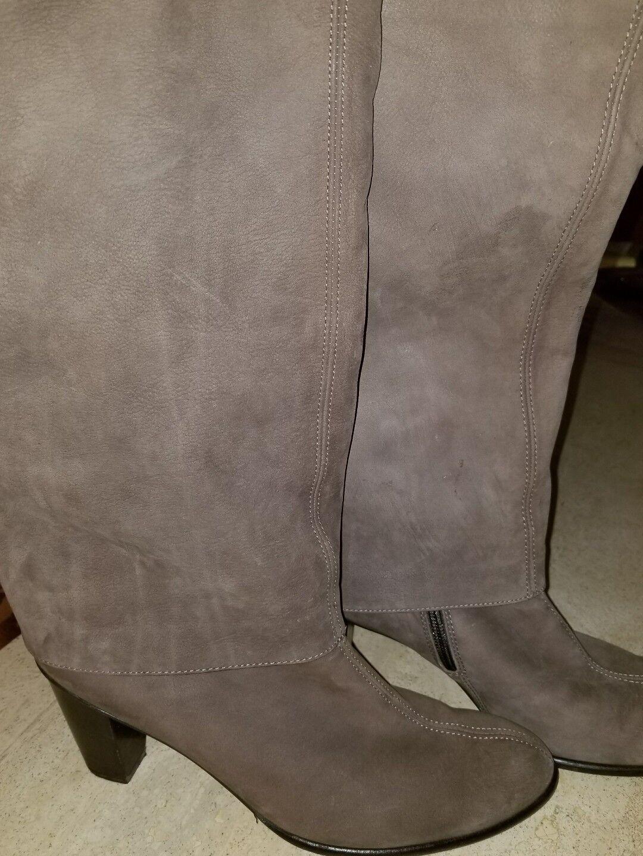 Paul Green Taupe Braun Nubuck Leder Tall cuff  Stiefel Sz 7.5M