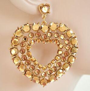 ORECCHINI-donna-oro-CRISTALLI-strass-ambra-pendenti-cuore-eleganti-pendants-H10