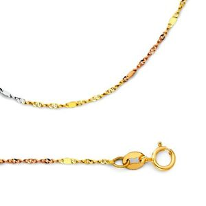 1.3 mm Solid 14k Yellow Gold Necklace Singapore Chain w Bar Stamped Thin