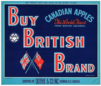 GENUINE CRATE LABEL APPLE CANADA BRITISH COLUMBIA CANADIAN VINTAGE BLUE GROUSE