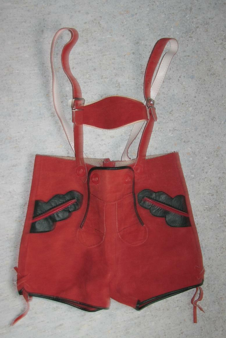 Short Girl ´S Traditional Costume Leather Pants/Costume IN Red Approx. Size 116