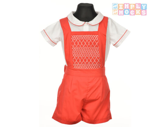 Hand Smocked Prince George Shirt//Shorts Set Traditional Romany Red Boy Outfit