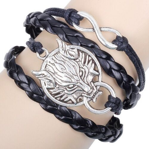 Infinity friendship Game of Thrones inspired stark direwolf bracelet