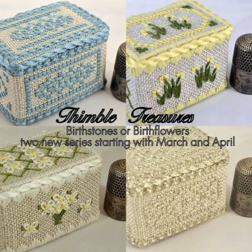 "/""March Aquamarine/"" Cross Stitch Kit by NOTEWORTHY NEEDLE Thimble Box Birthstone"