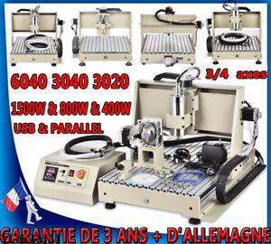 3/4 axes CNC 6040T 3040T Router Graveuse Machine fraisage coupe USB 1500W/800W