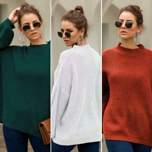 Jumper-Knitwear-Knitted-Long-Sleeve-Loose-Knit-Shirt-Sweater-T-Shirt-Pullover