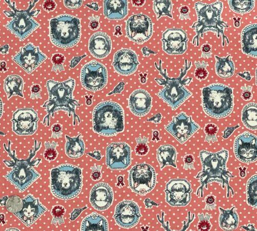 100/% Cotton Poplin Fabric Cat Rabbit Bear Sheep Polka Stag Bird Polka Dots Pink
