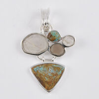 Barse Jewelry Sterling Silver, Raw Turquoise, Bronzite And Quartz Pendant