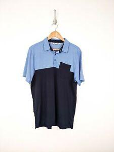 Travis-Mathew-Polo-Shirt-Men-Large-Blue-Color-Block-Pima-Cotton-Blend-Golf