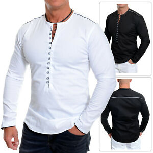 Men-039-s-Collarless-Shirt-Crew-Neck-Long-Sleeve-Casual-Loops-White-Black-Slim-Fit