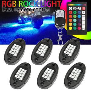 6Pcs-Neon-LED-Rock-Light-Kit-RGB-Underglow-Lamp-Offroad-Car-Truck-Remote-W-W