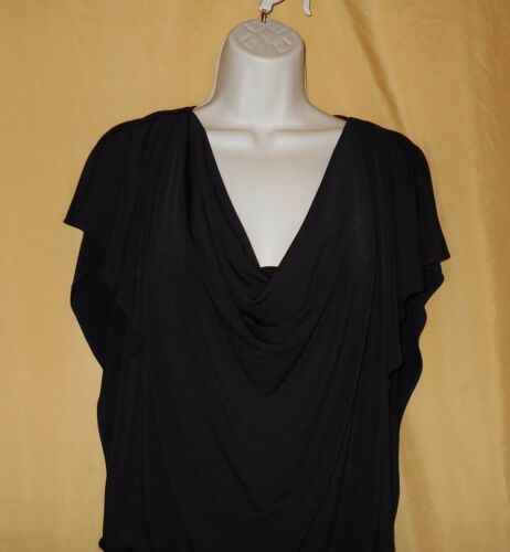 Kelly /& Diane women/'s black cowl neck stretch dress tunic top ruched S M $89
