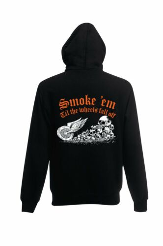 Sweatshirt Jacke mit einem Biker ,Chopper-/& Old Schoolmotiv Modell Smoke em