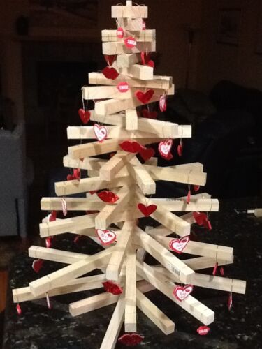 """Wooden Christmas Tree 27/"""" Tall Table Top Model Handcrafted"""