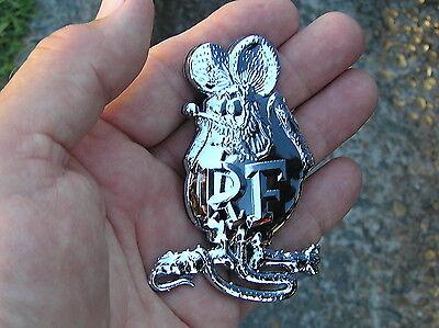 RAT FINK METAL EMBLEM PAIR 80mm Chrome RatFink Car Badges suit Chevy or Ford etc
