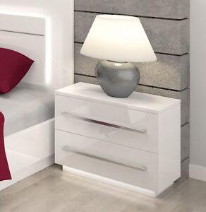Bedroom furniture bedside cabinet free led lights high gloss fronts image is loading bedroom furniture bedside cabinet free led lights high watchthetrailerfo