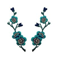 Id 6587ab Set Of 2 Mirror Teal Blue Flower Bud Branch Patches Iron-on Appliques