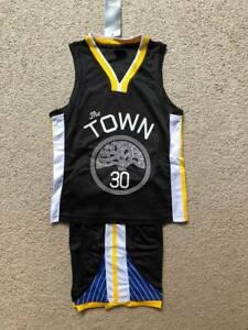 factory price af91c 368d1 Details about Stephen Curry #30 Golden State KIDS BOYS BASKETBALL JERSEY  SHORTS SET Black